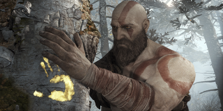 Kratos with a marked tree in God of War