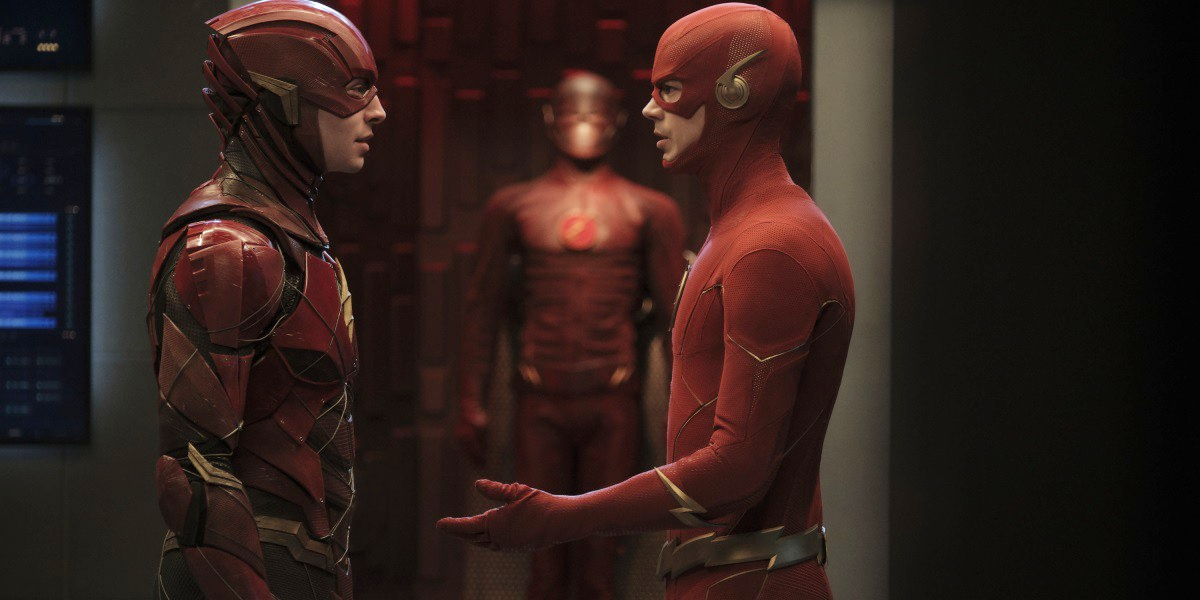 Ezra Miller and Grant Gustin in Arrow