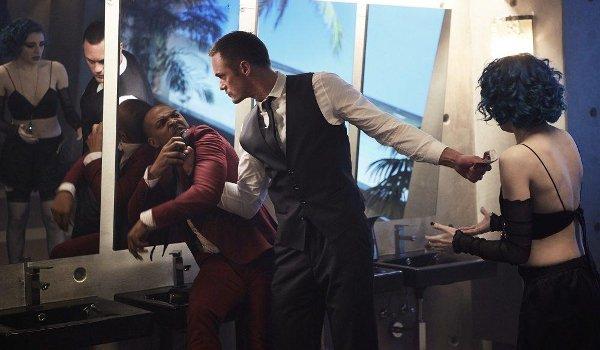 Mute Alexander Skarsgard roughs up Noel Clarke to protect his girlfriend