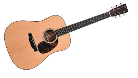 Though simplistic in appearance, the D-18E does have a classic air about it, be it the ebony 30s-style bridge, old-style abalone position inlays, or vintage-style tuners