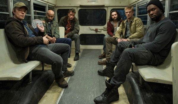 The Predator Alfie Allen Keegan Michael Key Thomas Jane Boyd Holbrook Trevante Rhodes all on the bus