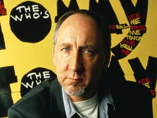 The Who legend pictured next to a Tommy hoarding in the early 1990s