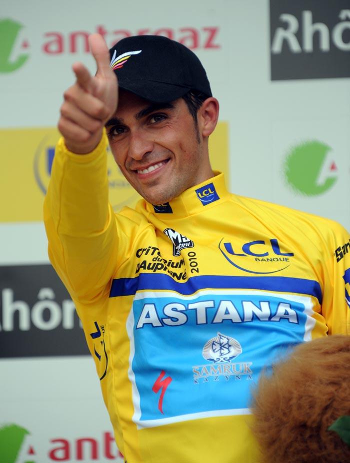 Alberto Contador wins Criterium du Dauphine 2010, prologue