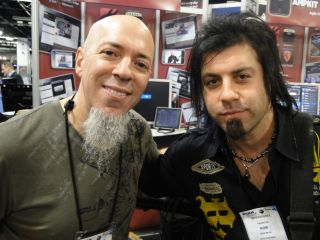 Jordan Rudess and Rob Math are all smiles as their duel became an all-out app jam