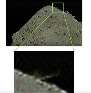 This image captured by Hayabusa2's DCAM3 camera, which deployed from the spacecraft, shows ejection from the asteroid Ryugu's surface was caused by the collision of an impactor. Photo taken at 10:36 p.m. EDT on April 4, 2019 (0236 GMT on April 5).