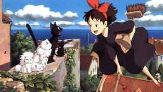 A girl rides a broomstick over a city looking a group of cats