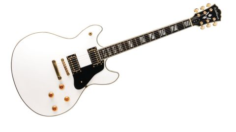 The pure white finish, gold hardware and black binding all add up to one cool-looking guitar, even if the lack of f-holes might look odd to some players