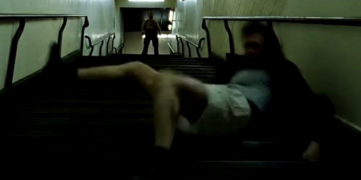 Tyler Durden sends the Narrator tumbling in Fight Club