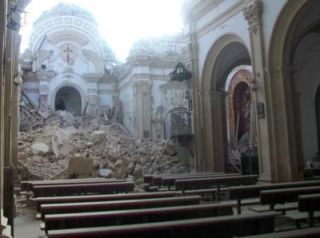 The Church of Santiago de Lorca, destroyed by a 5.1 magnitude earthquake on May 11, 2011. A study suggests large earthquakes have occurred in southeast Spain more often than thought.