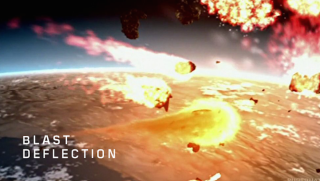 An artist's depiction of how nuclear detonations could edge a hazardous asteroid out of Earth's path.