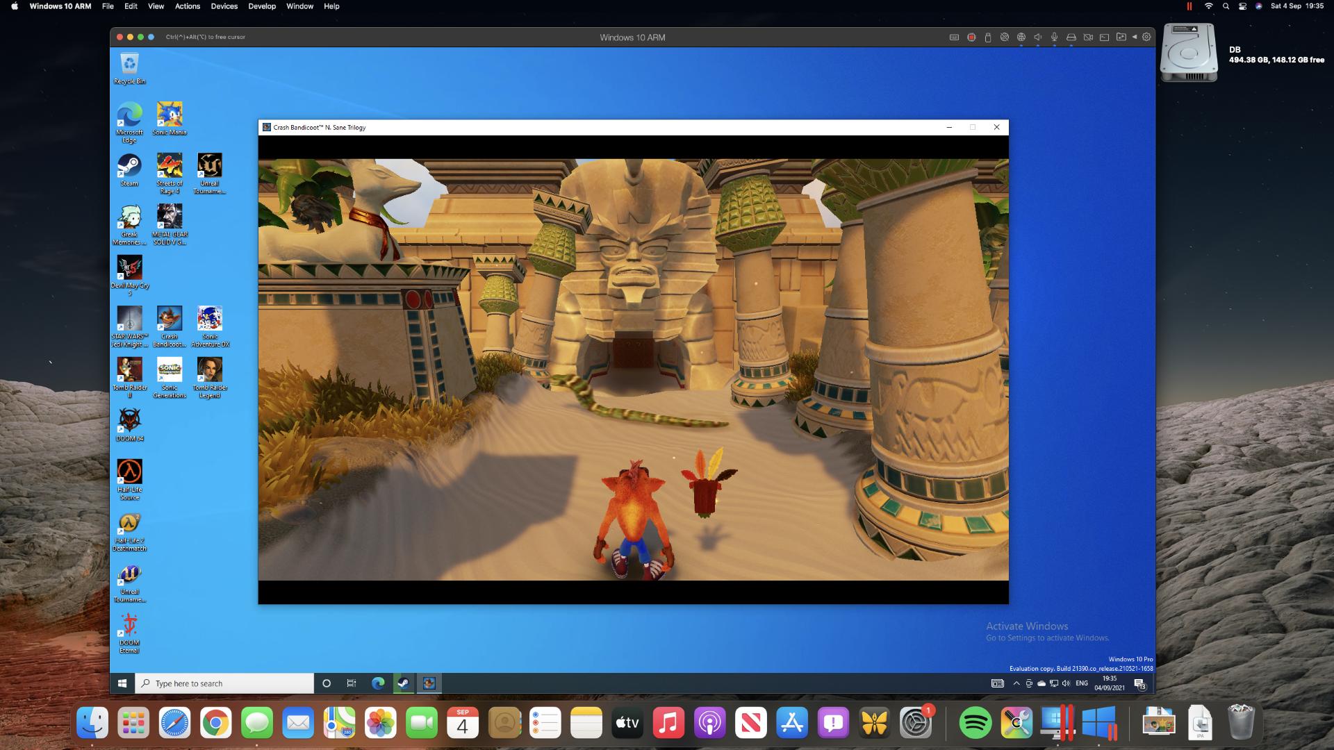 Crash Bandicoot 3 running in Parallels Desktop on a Mac mini M1