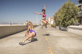 Rollerskaters in sunny California