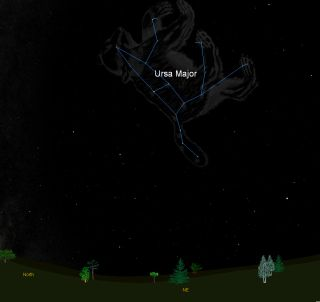 This sky map shows how the constellation Ursa Major, the Great Bear, appears in the night sky from mid-latitudes of North America at about 9 p.m. local time.