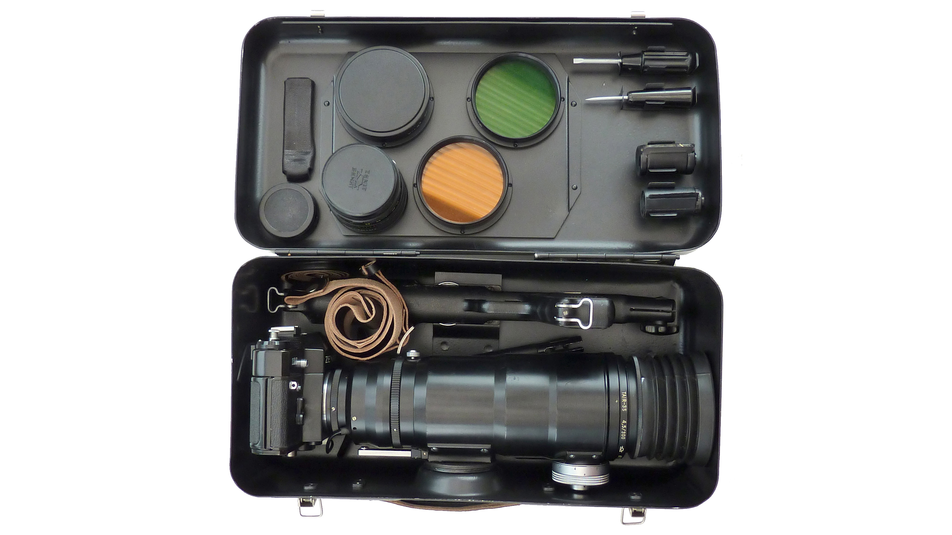 The Zenit Fotosniper camera packed into its carry case