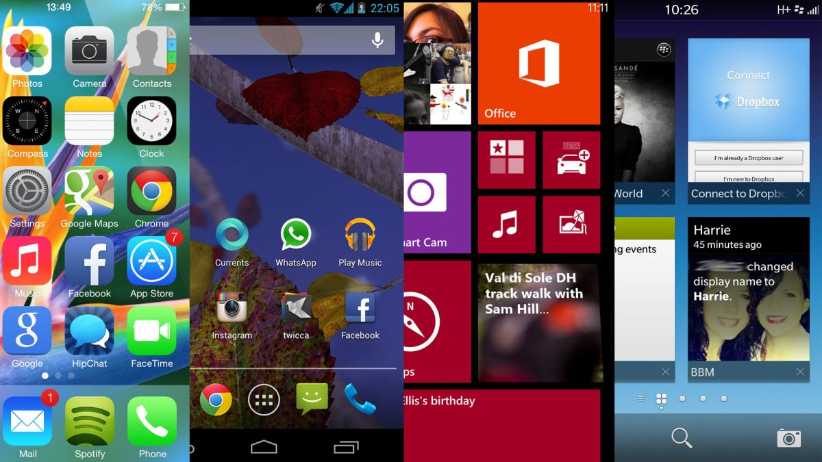 iOS 7 vs Android Jelly Bean vs Windows Phone 8 vs BB10