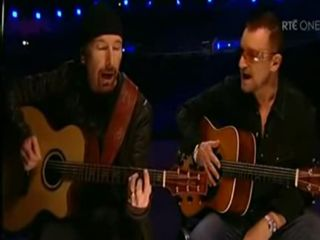 The Edge and Bono at the old railway station