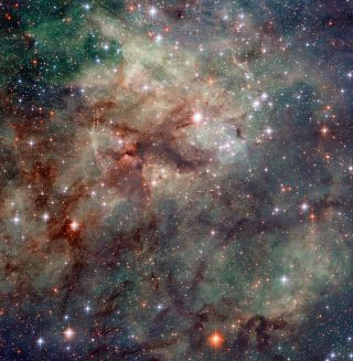 Hubble has taken this stunning close-up shot of part of the Tarantula Nebula. This star-forming region of ionised hydrogen gas is in the Large Magellanic Cloud, a small galaxy which neighbours the Milky Way.