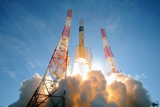 A Japan Aerospace Exploration Agency H-IIA rocket launches the Global Change Observation Mission-Climate (GCOM-C) satellite and the Super Low Altitude Test Satellite (SLATS) into orbit from the Tanegashima Space Center on Dec. 23, 2017 Japan Standard Time