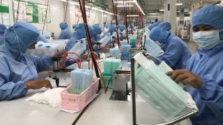 A Thai surgical mask factory, producing 10 million masks a month, increased working hours to cope with the rising demand due to the coronavirus pandemic. Their products are exported mostly to the U.S. and Europe. Shortages suggest the U.S. needs other options.