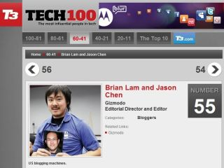 TechRadar makes the Tech100 (kind of). Just check out Brian Lam from Gizmodo's shirt!