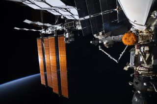 """A view of the docking port for the Russian Multipurpose Research Module (MLM), also known as Nauka. After docking July 29, 2021, Nauka suffered a software glitch that resulted in the space station spinning and losing """"attitude control."""""""