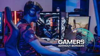 eSports player pictured playing with the Gamers Without Borders logo in the bottom right