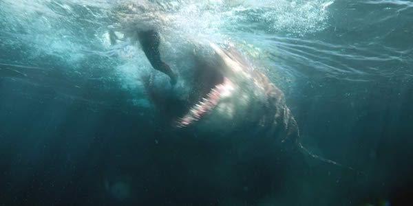 Shark eating someone in The Meg
