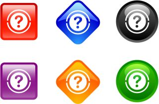 Multicolored digital buttons display question marks