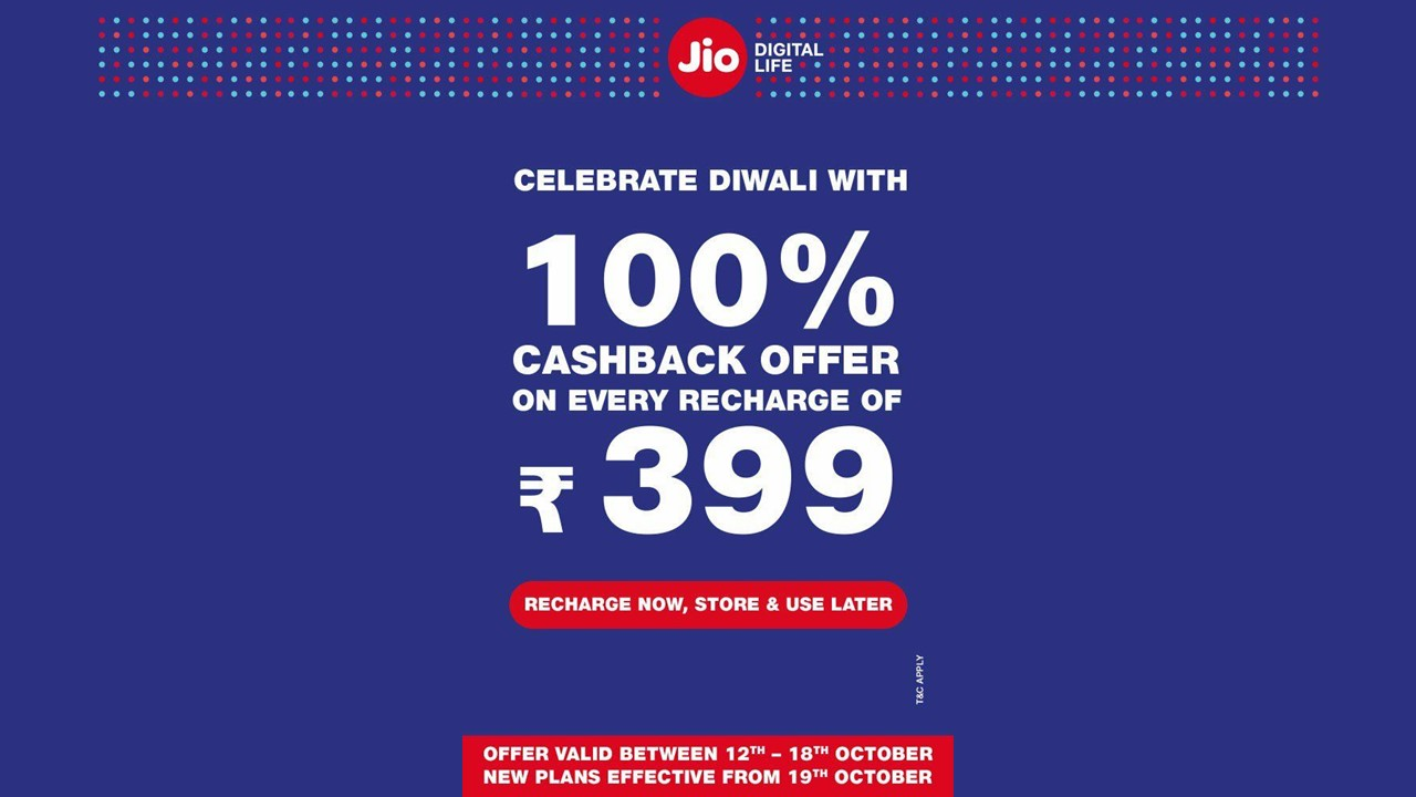 Reliance Jio Diwali Dhan Dhana Dhan offer extends unlimited benefits