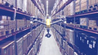Ericsson drone in a warehouse.