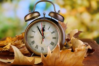 old clock, fall, autum
