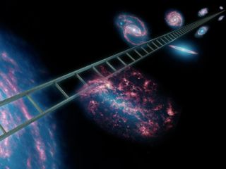 Scientists use a cosmic distance ladder to measure the expansion rate of the universe. The ladder, symbolically shown here, is a series of stars and other objects within galaxies that have known distances. By combining these distance measurements with the