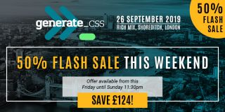 An image promoting the Generate CSS flash sale: 50% off until 11:30pm Sunday 22 September.