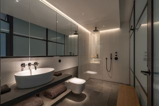 the best bathroom lighting comes from multiple sources, such as in this scheme