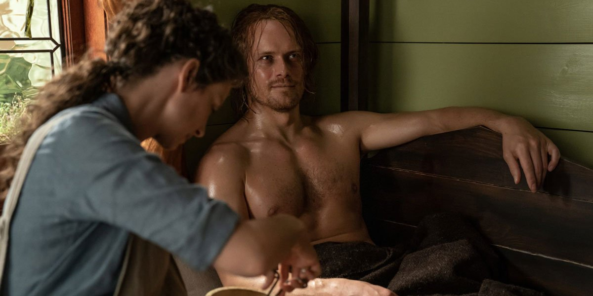 Sam Heughan getting nursed by Caitriona Balfe in Outlander Season 5, shirtless
