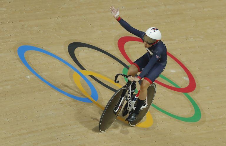 Riding in the velodrome at Rio Olympics in 2016