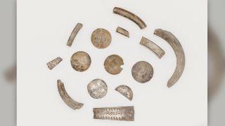 The hoard contained 87 silver coins, 13 pieces of silver arm-rings and several artifacts.