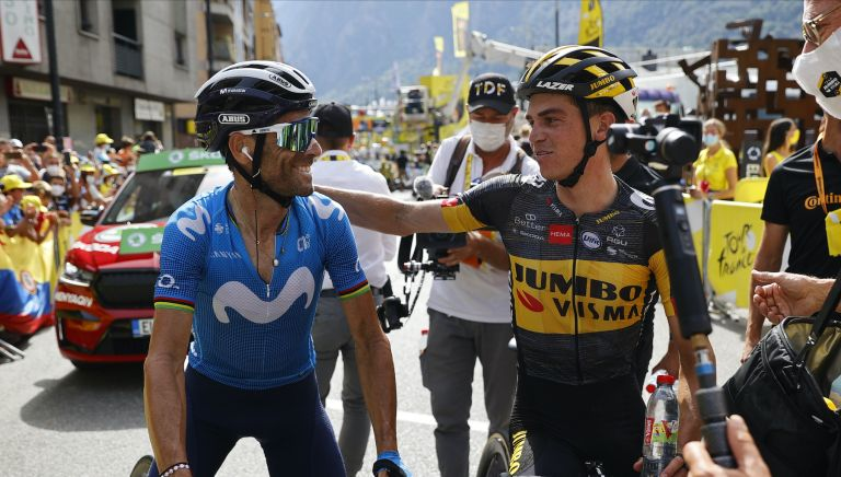Alejandro Valverde and Sepp Kuss at the Tour