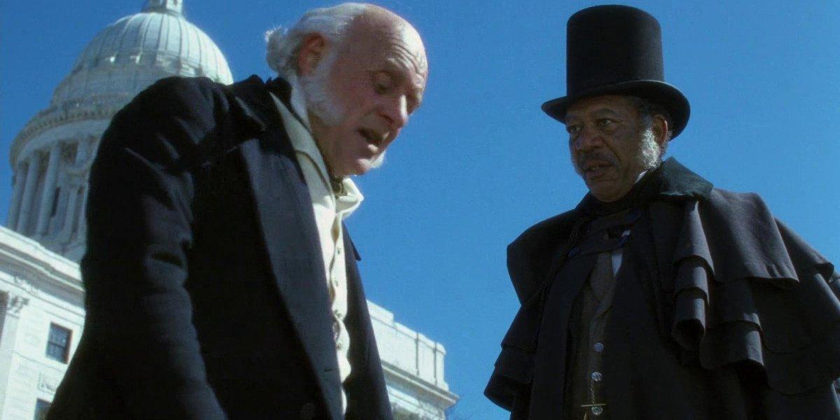 Anthony Hopkins and Morgan Freeman in Amistad