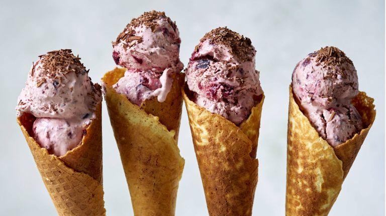 Cherry ice cream in cones