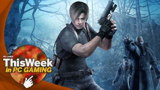 Leon from Resident Evil 4 holding a gun with zombie people in the background of a spooky forest.