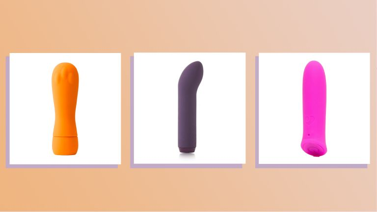 three of w&h's best bullet vibrators picks on a coral background