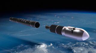 A visualization of Firefly Aerospace's Alpha launch vehicle.