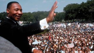 """Dr. Martin Luther King Jr. delivers his """"I Have a Dream"""" speech to a huge crowd gathered on the Mall in Washington, D.C., on Aug. 28, 1963, during the March on Washington for Jobs & Freedom (also called the Freedom March)."""