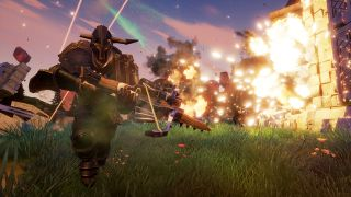 A warrior from Rend runs away from an explosion.