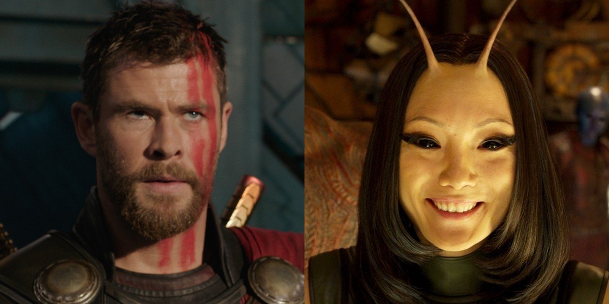 Pom Klementieff as Mantis and Chris Hemsworth as Thor