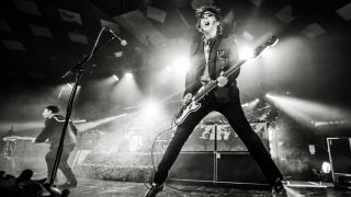 Nicky Wire of Manic Street Preachers performs on stage at Barrowlands Ballroom on December 8, 2014 in Glasgow