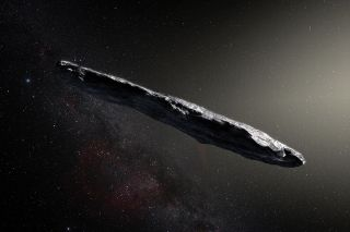 Artist's illustration of 'Oumuamua, the first interstellar object ever confirmed in our own solar system.