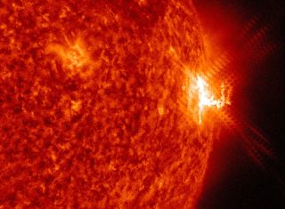 A closeup of the M7.6-class solar flare that erupted from the sun on July 23, 2016 as seen by NASA's Solar Dynamics Observatory. NASA is considering two proposals that would study space weather from the sun.
