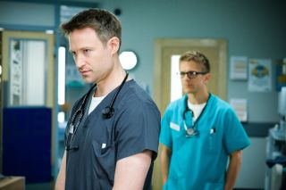 Casualty anniversary special. Richard Winsor returns as Cal to warn brother Ethan Hardy!